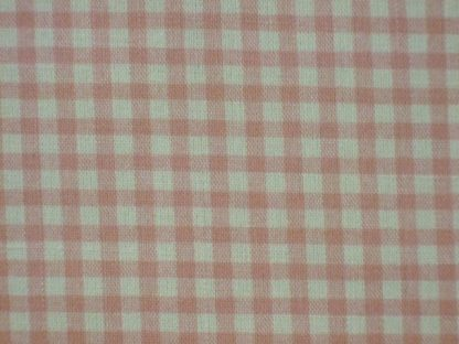 LINEN LOOK COTTON  FABRIC  by JOHN LOUDEN  CHECK -  CREAM / PINK  -