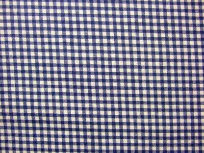 LINEN LOOK COTTON  FABRIC  by JOHN LOUDEN   CHECK  CREAM / NAVY BLUE