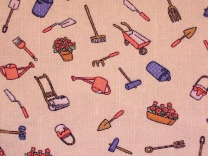 LINEN LOOK COTTON  FABRIC by JOHN LOUDEN GARDEN TOOLS PINK