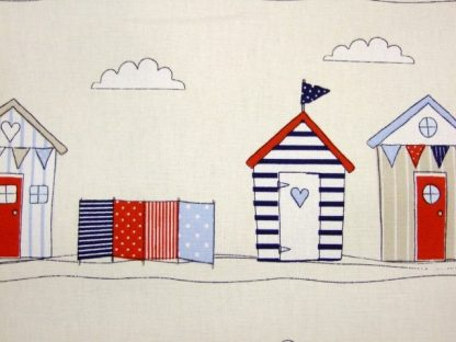 BEACH HUTS BLUE  HEAVIER WEIGHT FABRIC