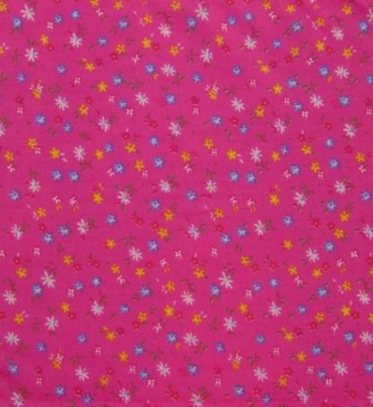 POLY/COTTON PRINT FABRIC  FLORAL  PINK