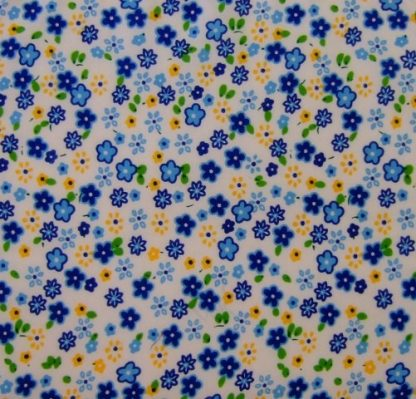 POLY/COTTON PRINT FABRIC   FLORAL BLUE