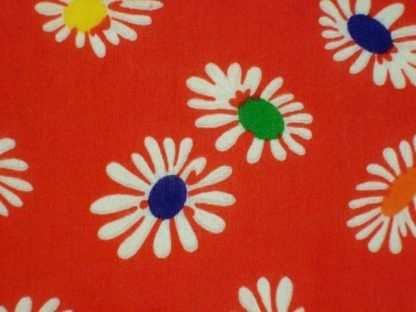 POLY/COTTON PRINT FABRIC   FLORAL RED