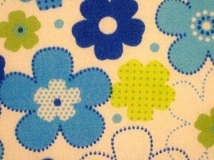 POLY/COTTON PRINT FABRIC FLORAL BLUE