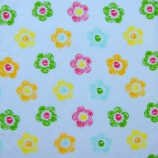 POLY/COTTON PRINT FABRIC   FLORAL  PALE BLUE