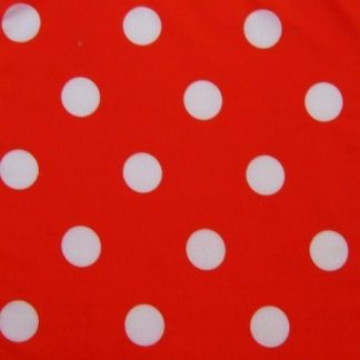 POLY/COTTON PRINT FABRIC LARGE WHITE SPOTS ON RED