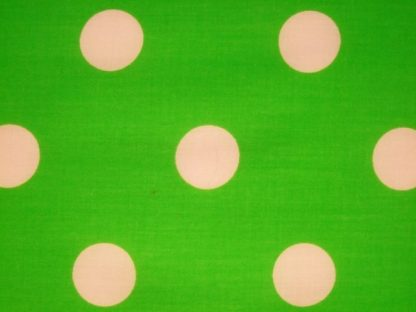 POLY/COTTON PRINT FABRIC - LARGE WHITE  SPOTS ON  LIME GREEN -