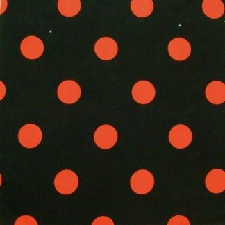 POLY/COTTON PRINT FABRIC - LARGE RED SPOTS ON BLACK -