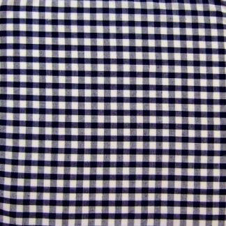 POLY/COTTON 1/4'' CORDED GINGHAM FABRIC - NAVY BLUE.
