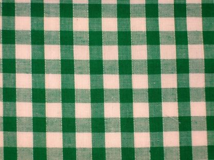 POLY/COTTON 1/4'' CORDED GINGHAM FABRIC -  GREEN