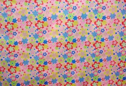 POLY/COTTON PRINT FABRIC - MULTI ON PINK -