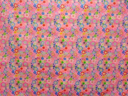POLY/COTTON PRINT FABRIC PINK FLORAL