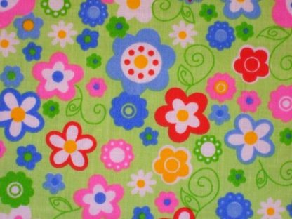 POLY/COTTON PRINT FABRIC , FLORAL - MULTI ON LIME GREEN -