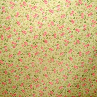 LIBERTY PRINT HAEVIER WEIGHT FABRIC  YELLOW/PINK