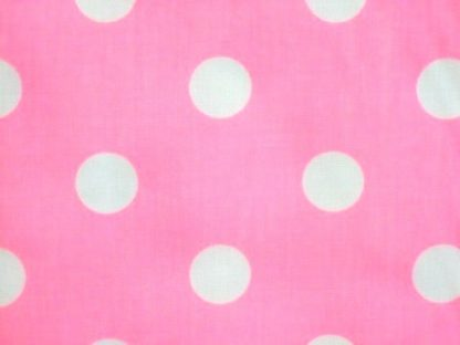 POLY/COTTON PRINT FABRIC -   LARGE WHITE SPOTS ON FLO PINK