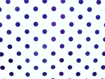 POLY/COTTON PRINT FABRIC - LARGE NAVY SPOTS ON WHITE -