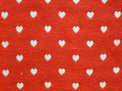 PETITE COEURS WOVEN HEARTS heavier weight fabric - RED  POLY/COTTON PRINT FABRIC