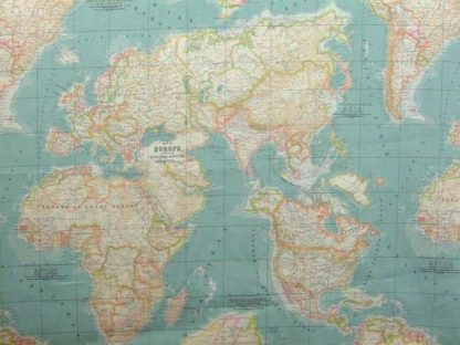 WORLD MAP heavier weight cotton fabric.