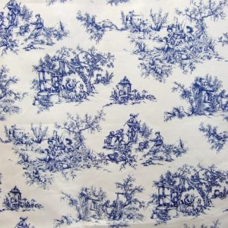 TOILE DE JOUY- heavier weight cotton fabric - BLUE ON CREAM -