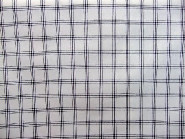 CHECKS - heavier weight cotton fabric - NATURAL WHITE / BLACK -