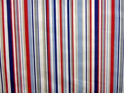 FUNKY STRIPE heavier weight  cotton fabric - RED/ BLUE / WHITE /GREY