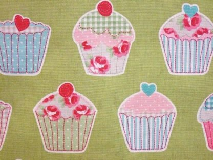 CUP CAKES- HEAVIER WEIGHT COTTON FABRIC - PASTEL GREEN -