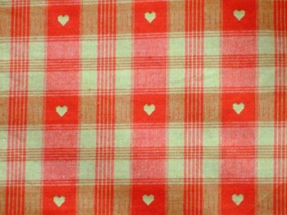 CREVIN COTTON CHECKED HEARTS - heavier weight cotton fabric -  RED/ BEIGE