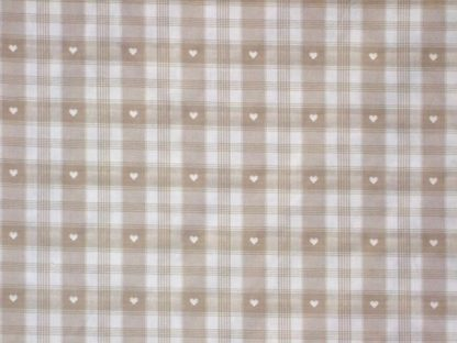 CREVIN COTTON CHECKED HEARTS - heavier weight cotton fabric - BEIGE/WHITE