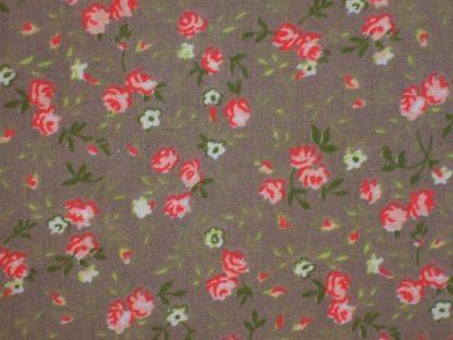 FLORIE PRINT - medium weight cotton fabric - BEIGE/RED/GREEN -