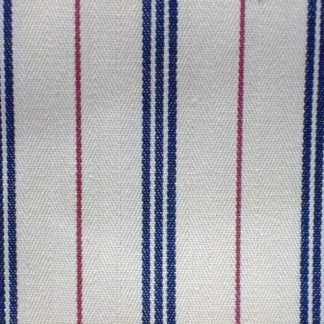 TICKING STRIPE heavier weight fabric  - CREAM/BLUE/RED -
