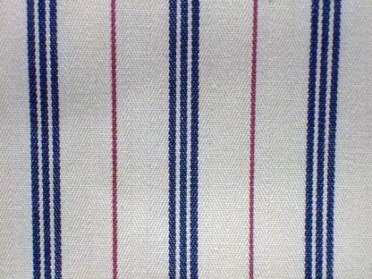 TICKING STRIPE heavier weight fabric  - CREAM/BLUE/RED -
