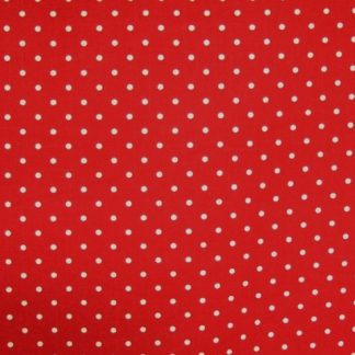 LINEN LOOK COTTON  FABRIC by JOHN LOUDEN - CREAM  SPOTS  ON  RED -
