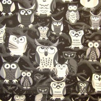 NITE OWLS by JUDY HANSEN for PAINTBRUSH STUDIO - BLACK / GREY / WHITE -