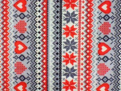 SWEATER STRIPE by GRETA LYNN for BENARTEX -  RED/GREY ON WHITE -