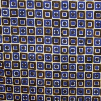 SQUARES & CIRCLES  heavier weight cotton fabric - BROWN /BLUE ON CREAM -
