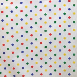 POLY/COTTON LARGE MULTI COLOUR SPOTS ON WHITE FABRIC