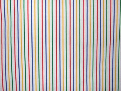 POLY/COTTON  PRIMARY COLOUR PIN STRIPES  ON WHITE