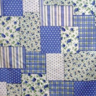 LIBERTY PATCH BLUE, medium weight cotton fabric - CREAM/BLUE -