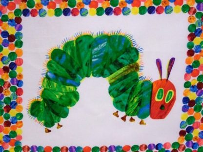 THE VERY HUNGRY CATERPILLAR by ERIC CARLE for ANDOVER FABRICS - COT PANEL - MULTI ON WHITE -