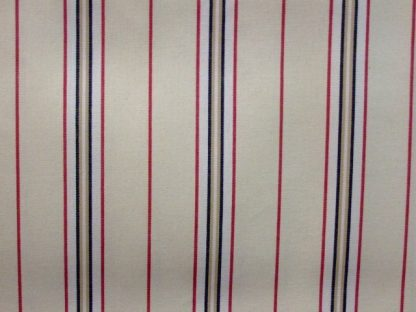 TOLEDO STRIPE TICKING  heavier weight fabric - CREAM /RED/BLACK -