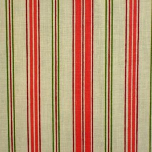 LIBERTY STRIPE , heavier weight fabric - CREAM/RED/GREEN -