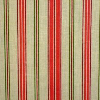 LIBERTY STRIPE , heavier weight fabric - CREAM/RED/GREEN -