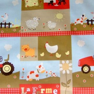 THE FARM , cotton fabric 160cm - MULTI -