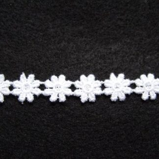 COTTON DAISY LACE TRIM 10mm/1/2'' wide  NATURAL WHITE  per metre