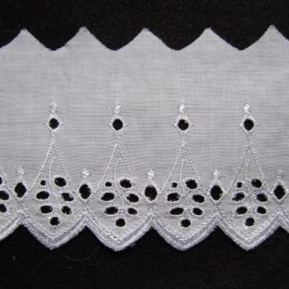 EMBROIDERY ANGLAIS LACE EDGING 80mm/3'' wide  WHITE