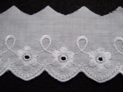 EMBROIDERY ANGLAIS LACE EDGING 50mm/2'' wide  WHITE per meter