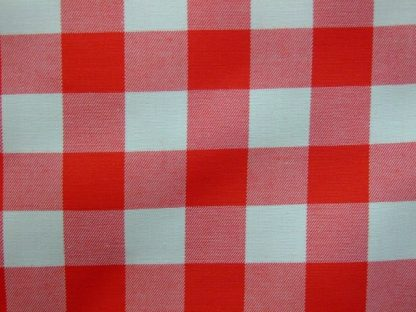 POLY/COTTON  3/4'' GINGHAM CHECK FABRIC - HEAVIER WEIGHT - RED -