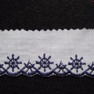 EMBROIDERY ANGLAIS LACE EDGING 40mm/1.5'' wide  WHITE & NAVY per meter