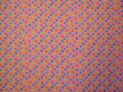 BUTTONS HEARTS COTTON FABRIC by EBOR - MULTI ON PINK  -
