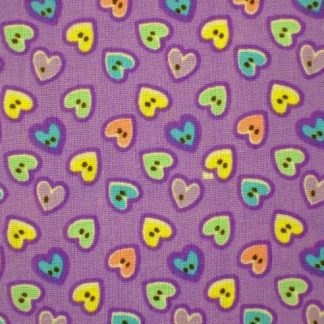 BUTTONS HEARTS COTTON FABRIC by EBOR - MULTI ON LILAC   -
